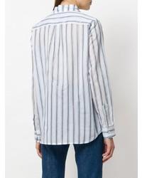 weißes und blaues vertikal gestreiftes Businesshemd von Shirtaporter