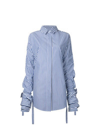 weißes und blaues vertikal gestreiftes Businesshemd von Strateas Carlucci