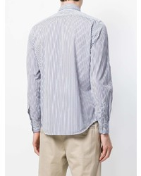 weißes und blaues vertikal gestreiftes Businesshemd von Aspesi