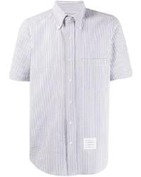 weißes und blaues vertikal gestreiftes Kurzarmhemd von Thom Browne