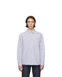 weißes und blaues vertikal gestreiftes Langarmhemd aus Seersucker