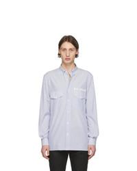weißes und blaues vertikal gestreiftes Langarmhemd von Balmain