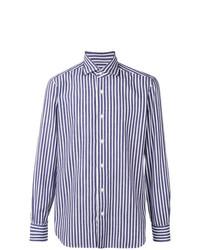 weißes und blaues vertikal gestreiftes Langarmhemd von Barba