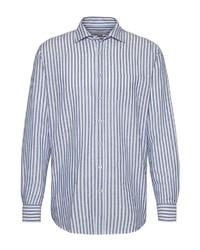 weißes und blaues vertikal gestreiftes Langarmhemd von Bugatti