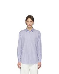 weißes und blaues vertikal gestreiftes Langarmhemd von Comme Des Garcons SHIRT
