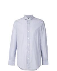 weißes und blaues vertikal gestreiftes Langarmhemd von Finamore 1925 Napoli