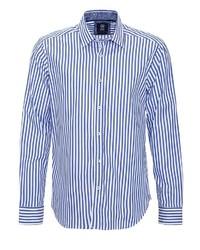 weißes und blaues vertikal gestreiftes Langarmhemd von GABANO
