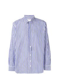 weißes und blaues vertikal gestreiftes Langarmhemd von Henrik Vibskov