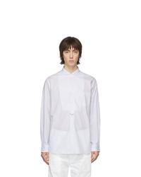 weißes und blaues vertikal gestreiftes Langarmhemd von Junya Watanabe