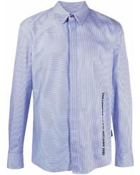 weißes und blaues vertikal gestreiftes Langarmhemd von Karl Lagerfeld