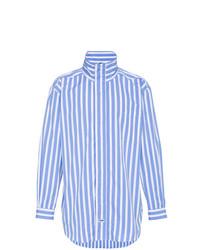 weißes und blaues vertikal gestreiftes Langarmhemd von Martine Rose
