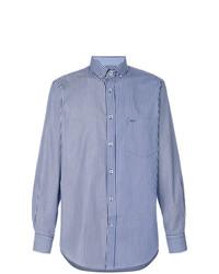 weißes und blaues vertikal gestreiftes Langarmhemd von Paul & Shark