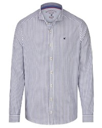 weißes und blaues vertikal gestreiftes Langarmhemd von Pure