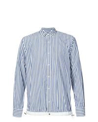 weißes und blaues vertikal gestreiftes Langarmhemd von Sacai