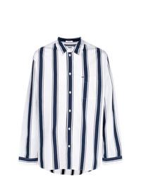 weißes und blaues vertikal gestreiftes Langarmhemd von Tommy Jeans