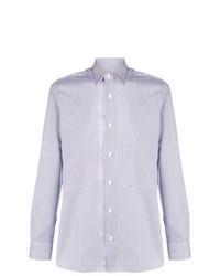 weißes und blaues vertikal gestreiftes Langarmhemd von Z Zegna