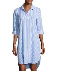 weißes und blaues vertikal gestreiftes Shirtkleid