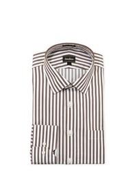 weißes und braunes vertikal gestreiftes Businesshemd