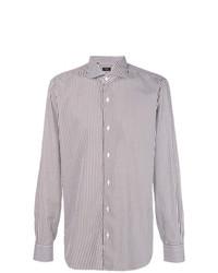 weißes und braunes vertikal gestreiftes Businesshemd von Barba