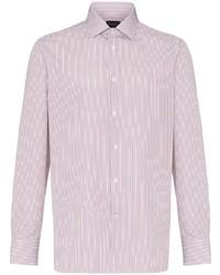 weißes und braunes vertikal gestreiftes Langarmshirt mit einer Knopfleiste von Ermenegildo Zegna