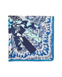 weißes und dunkelblaues bedrucktes Einstecktuch