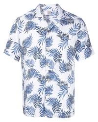 weißes und dunkelblaues bedrucktes Kurzarmhemd von Eleventy