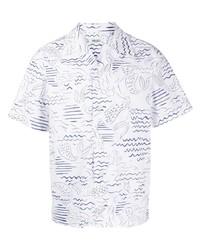 weißes und dunkelblaues bedrucktes Kurzarmhemd von Kenzo
