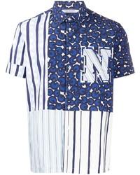 weißes und dunkelblaues bedrucktes Kurzarmhemd von Neil Barrett