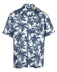weißes und dunkelblaues bedrucktes Kurzarmhemd von Polo Ralph Lauren