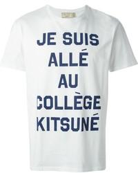 weißes und dunkelblaues bedrucktes T-Shirt mit einem Rundhalsausschnitt