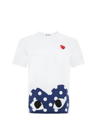 weißes und dunkelblaues bedrucktes T-Shirt mit einem Rundhalsausschnitt von Comme Des Garcons Play