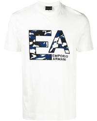 weißes und dunkelblaues bedrucktes T-Shirt mit einem Rundhalsausschnitt von Emporio Armani