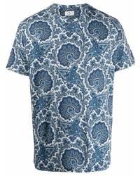 weißes und dunkelblaues bedrucktes T-Shirt mit einem Rundhalsausschnitt von Etro