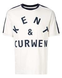 weißes und dunkelblaues bedrucktes T-Shirt mit einem Rundhalsausschnitt von Kent & Curwen