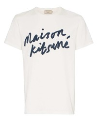 weißes und dunkelblaues bedrucktes T-Shirt mit einem Rundhalsausschnitt von MAISON KITSUNÉ