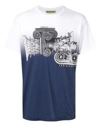 weißes und dunkelblaues bedrucktes T-Shirt mit einem Rundhalsausschnitt von VERSACE JEANS COUTURE
