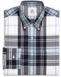 weißes und dunkelblaues Businesshemd mit Schottenmuster