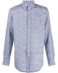 weißes und dunkelblaues Businesshemd mit Vichy-Muster von Canali