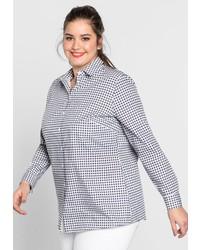 weißes und dunkelblaues Businesshemd mit Vichy-Muster von SHEEGOTIT