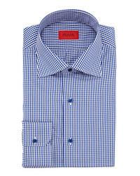 weißes und dunkelblaues Businesshemd