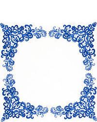 weißes und dunkelblaues Einstecktuch mit Paisley-Muster von Alexander McQueen