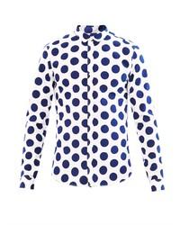 weißes und dunkelblaues gepunktetes Businesshemd