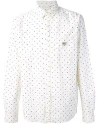 weißes und dunkelblaues gepunktetes Langarmhemd