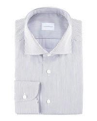 weißes und dunkelblaues horizontal gestreiftes Businesshemd