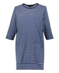 weißes und dunkelblaues horizontal gestreiftes Freizeitkleid von Ulla Popken