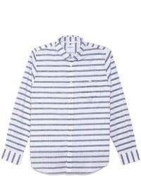 weißes und dunkelblaues horizontal gestreiftes Langarmhemd
