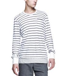weißes und dunkelblaues horizontal gestreiftes Langarmshirt