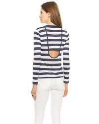 weißes und dunkelblaues horizontal gestreiftes Langarmshirt von A.L.C.