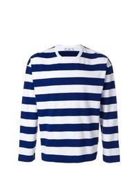 weißes und dunkelblaues horizontal gestreiftes Langarmshirt von AMI Alexandre Mattiussi