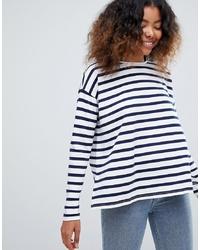 weißes und dunkelblaues horizontal gestreiftes Langarmshirt von ASOS DESIGN